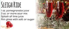 Sleigh Ride  1 oz. pomegranate juice  3 oz. or more sour mix  Splash of lime juice  Rim glass with salt or sugar #Cardis #PortsmouthPublickHouse #TheRhodeShow #WPRI12 #drinks #mocktails #winter #holidays
