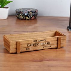 1pc Antique Wooden Table Sundries Container Cosmetics Jewelry Storage Box Home Storage Box Wooden Jewelry Holder