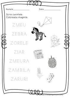Litera Z | CLASA PREGATITOARE Alphabet Writing, Alphabet Worksheets, Writing Words, Kindergarten Worksheets, Preschool At Home, Free Preschool, School Lessons, Projects For Kids, Homeschool