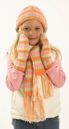 7 free charity knitting patterns: child's winter accessories set downloadable knitting pattern at LoveKnitting