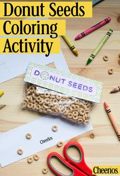 Make this cute craft with your kids! All you need is Cheerios and Ziploc® bags. Click the Pin to download your own printable and colorable Donut Seeds label.