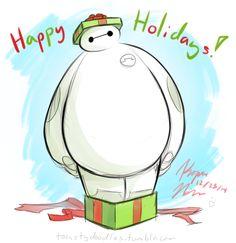 Baymax's Christmas and he wishes you a Happy Holidays Pixar Movies, Disney Movies, Hiro Hamada, Merry Christmas, Xmas, Walt Disney Studios, Baymax, Big Hero 6, Disney Disney