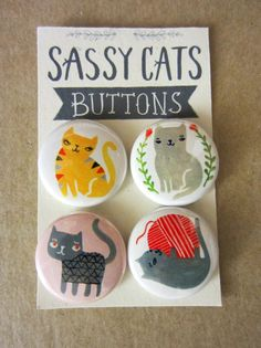 Sassy Cats (w Pink Button) by Sarah Walsh via Etsy.