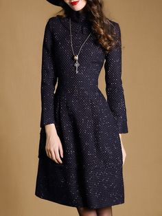 Shop Navy Stand Collar Long Sleeve Dress online. SheIn offers Navy Stand Collar Long Sleeve Dress & more to fit your fashionable needs.