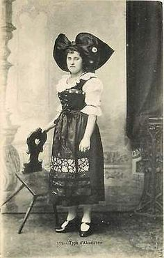 Alsace France 1906 Lady in Alsatian Costume Collectible Antique Vintage Postcard Alsae France Circa 1908 Woman in a typical Alsatian costume. Unused antique vintage postcard in very good condition wit