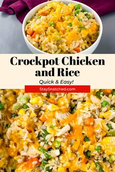 This Crockpot Chicken and Rice is the perfect, healthy one-pot meal for weeknight dinners. Simply dump your ingredients in the slow cooker and let it do the work. This dish has chicken (chicken breasts, thighs, or drumsticks), brown rice, veggies, and cheese. Healthy One Pot Meals, Quick Easy Meals, Healthy Recipes, Easy Crockpot Chicken, Crockpot Recipes, Frozen Vegetables, Veggies, Meal Prep Guide, Cooking White Rice