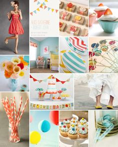 Dear Evie inspiration board 27 #wedding #inspiration #bunting #coral #aqua #carnival