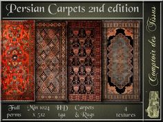 Persian Carpets 2nd edition - 4 FULL PERMS HD tga textures