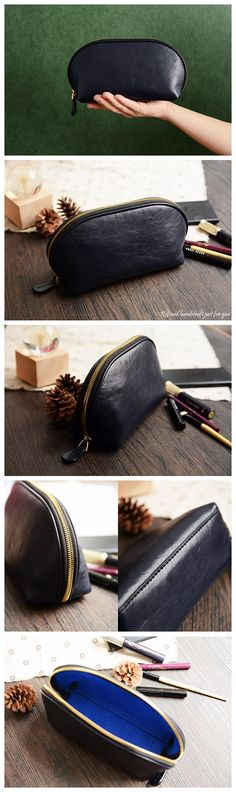 Custom Handmade Vegetable Tanned Italian Leather Cosmetic Bag Toiletry
