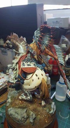 Lakota Warrior by g_perez_roman · Putty&Paint Native American Warrior, Native American Dolls, Native American Artwork, Native American History, American Indians, Native Indian, Indian Art, Water Fountain Design, Indian Horses