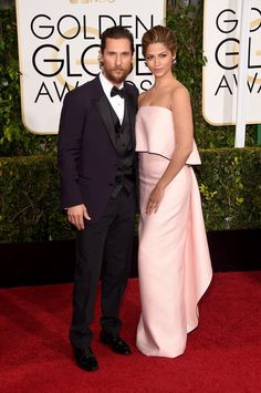 Pin for Later: Hollywood's Hottest Couples Take Over the Globes Red Carpet Matthew McConaughey and Camila Alves