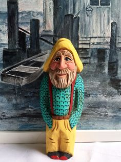 Folk Art Fisherman, hand carved and painted by Elizabeth Brown, Liverpool,NS