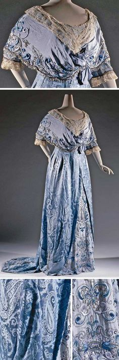 Gown, Amélie, Paris, ca. 1907-09. Pale blue silk damask with butah (?) motifs and embroidered silk crepe de chine in silver & blue with silver sequins. Taffeta underdress. Rijksmuseum