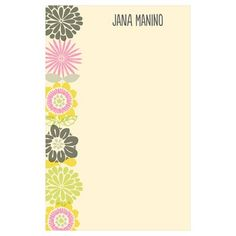 Custom Notepads -- Retro Wallpaper. Tropical blooms in retro colors line up along the side of these custom notepads, making whoever you give them to smile each time she uses them. $12.99 ea #giftideas #notepads