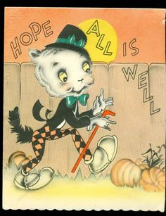 Halloween Card - Anthropomorphic Cool Cat Under the Moon c1930s