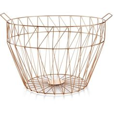 Home Design Studio Large Geo Wire Basket, ($59) ❤ liked on Polyvore featuring home, home decor, small item storage, copper, wire baskets, storage baskets, geometric home decor, wire home decor and wire storage baskets