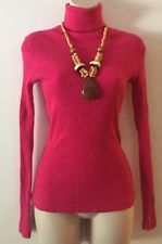 Pink Turtleneck Ribbed Stefano Basics Size Medium