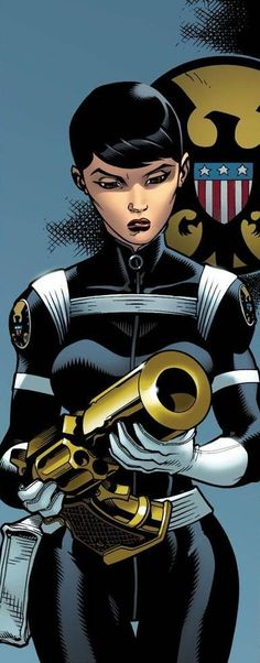 """Maria Hill (Human) (Chicago, Illinois, U.S.A.) Deputy Director of SHIELD, former SHIELD director. A trained SHIELD agent, proficient in interrogation, unarmed combat, marksmanship and the handling and processing of massive amounts of information. She is skilled at directing several operations and operatives at once. 5' 10"""" tall."""