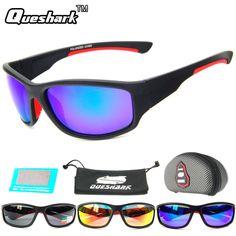 03f1507b41b QUESHARK Men Polarized Fishing Sunglasses Camping Hiking Goggles Uv400 Protection  Bike Cycling Glasses Sports Fishing Eyewear