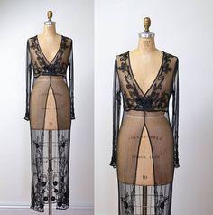 1990s Beaded Black Evening Dress / 90s Sheer Mesh Dress