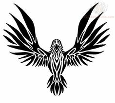 Flying Raven Tribal Tattoo Design