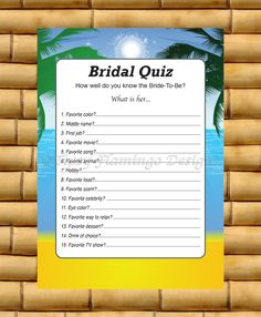 Printable Wedding - Bridal Shower Game - Bridal Quiz - How Well Do You Know The Bride - Instant Download - Tropical Beach Theme - TFD213 by TipsyFlamingoDesigns on Etsy