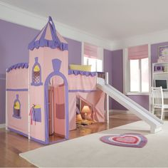 NE Kids School House Princess Loft Bed - Put a little castle in your little princess' room with the whimsical Schoolhouse Princess Loft Bed. This fun pink and lavender tent bed ...