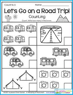 This is a cool worksheet for the summer! Are you going on a road trip? Count all the items on this page to help with numbers to 5. Made for the month of July, this set has 4 worksheets for the 4th of July. You can use the worksheets the whole summer though because they are mostly summer worksheets. Please check out the whole set of 30 summer themed kindergarten counting worksheets. Counting Worksheets For Kindergarten, Summer Worksheets, Graphing Worksheets, Alphabet Tracing Worksheets, Tracing Letters, Upper And Lowercase Letters, Lower Case Letters, Writing Lines, Business For Kids