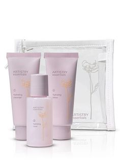 Artistry Essentials Hydrating System-mini travel set. A mini cleanser, toner and lotion come in a free mini essentials travel bag that meets airline carry on standards, so you can take your daily skin care routine wherever you go. Retail-$19.25.