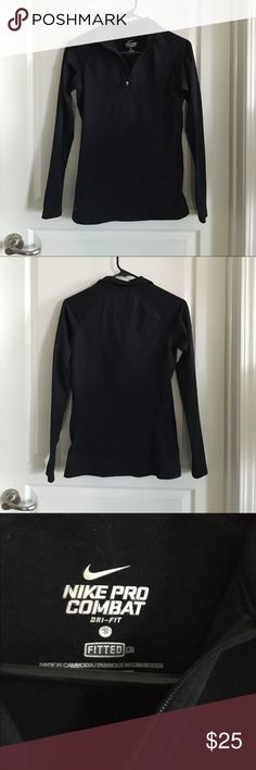 Nike Dri-Fit 1/4 zip Pullover Size Small Black 1/4 zip pullover. Fitted. Has thumb holes and collar. Worn, but still in great condition. No tears or stains. No trades or Paypal. Nike Tops Sweatshirts & Hoodies