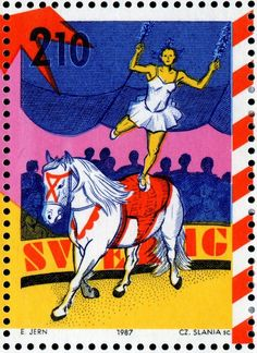Circus on postage stamps