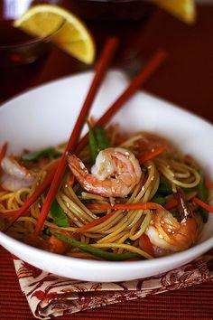 Noodles and Shrimp, favorite combination
