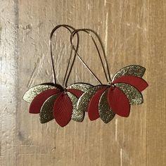 Boucles d'oreilles cuir feuilles rouge et or fleur de | Etsy