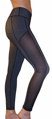 Mesh Yoga Pants/Leggings (Side Panel, Gray)