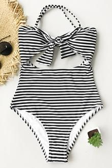 Cupshe Neat As a Pinstripe Halter One-piece Swimsuit