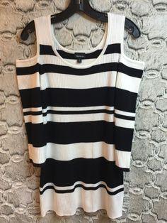 6f2473d21c1 Torrid Black & White Striped Ribbed Knit Sweater Cold Shoulder Stretch  NWT Sz 2X #