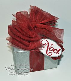 Noel Silver Foil Christmas Box by MarieStamps.com using Stampin' Up! Kraft Boxes.