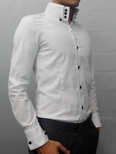 ffe4f3ef2 (2 Styles) Mens New Slim Fit White High Collar 3 Button Down Dress Shirt