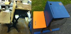 Before and After old school desk project. Painted with Annie Sloan Chalk Paint and custom stencils. My Table Gallery, Jessie Voss