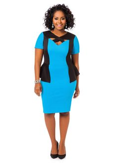 Textured Colorblock Peplum Dress - Ashley Stewart
