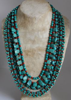 Turquoise, Coral and Sterling Silver Multi-Strand Necklace by stone + silver designs