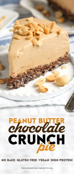 Healthy Peanut Butter Chocolate Crunch Pie — a thick, rich, and delicious peanut butter filling atop a crunchy and decadent chocolate base. Healthy Pie Recipes, Gluten Free Recipes For Breakfast, Gluten Free Desserts, Vegan Desserts, Just Desserts, Baking Recipes, Delicious Desserts, Yummy Food, Peanut Butter Desert Recipes
