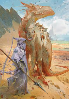 quinshiart:  Some Camel…Dragon thing. by Rossipoo   Camel-dragon things are a common sight in Gamma Terra's southern deserts..