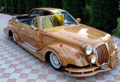 Wooden car from the Ukraine. In Urkraine, wooden car drives you! Strange Cars, Weird Cars, Crazy Cars, Cool Car Paint Jobs, Vintage Cars, Antique Cars, Pt Cruiser, Wooden Car, Car Makes
