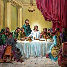 Jesus Painting - The Last Supper by John Lautermilch Christian Images, Christian Art, The Last Supper Painting, Jesus Last Supper, Jesus Christ Painting, Spiritual Images, Desert Life, Jesus Lives, Jesus Pictures