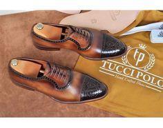 TucciPolo Handmade Brown Captoe Oxfords Mens Luxury Brogue Italian Leather Shoe