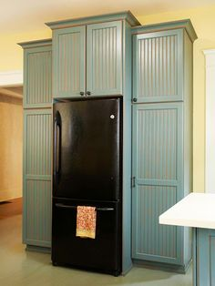 DIY built in refrigerator. Build big cupboard space for serving ...
