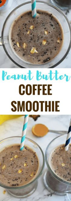 A delicious combination of peanut butter, chocolate, banana and coffee for a refreshing morning smoothie with a punch of energy! Peanut Butter Coffee, Peanut Butter Smoothie, Peanut Butter Protein, Yummy Smoothies, Breakfast Smoothies, Smoothie Recipes, Drink Recipes, Green Smoothies, Shake Recipes