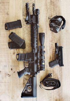 Bag full of guns Tactical Equipment, Tactical Gear, Weapons Guns, Guns And Ammo, Armas Airsoft, Custom Guns, Military Guns, Cool Guns, Assault Rifle