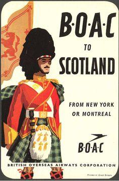 C (British Overseas Airways Corporation) Scotland Travel Poster. British European Airways, British Airline, Vintage Travel Posters, Vintage Ads, Vintage Airline, Vintage Images, Travel Ads, Air Travel, Railway Posters